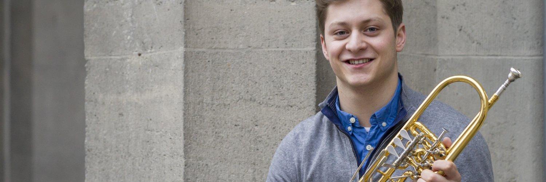 """Till Plinkert macht bald sein Abitur und will danach Trompete studieren. Häufig schon war er bei """"Jugend musiziert"""" erfolgreich.  Bild: Philipp Rothe, 06.02.2014"""